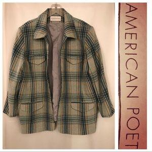 ♦️VINTAGE♦️Evan Picone Wool Blend Plaid Zip JACKET